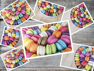 Collage photo of colorful macarons 1