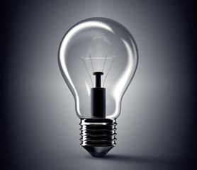 bright glass light bulb isolated on background
