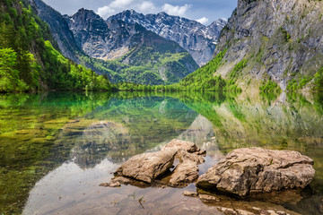 Stunning view of the mountain lake Obersee, Alps, Germany Wall mural
