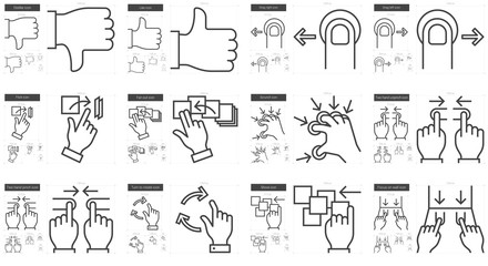 Touch gestures line icon set.