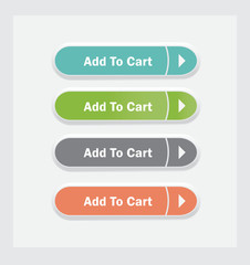 Add to cart. Set of vector web interface buttons. Color variations.