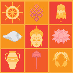 Buddhist symbolism, The 8 Auspicious Symbols of Buddhism, Right-coiled White Conch, Precious Umbrella, Victory Banner, Golden Fish, Dharma Wheel, Auspicious Drawing, Lotus Flower, Vase of Treasure.
