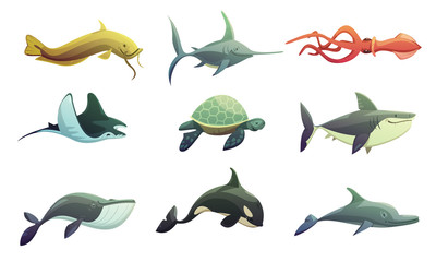 Fish And Marine Animals Cartoon Set