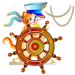 Illustration of little kitten holding steering wheel, vector cartoon image.
