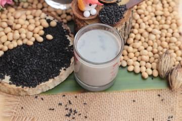 Soy bean milk mix black sesame delicious.