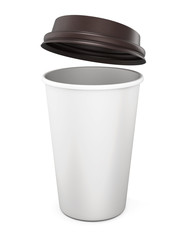 Plastic cup of coffee with an open lid on a white background. 3d