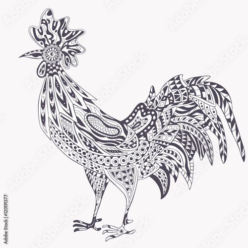 Roster Coloring Pages Rooster Zentangle On White Background The Logo For New Year 2017