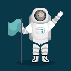 astronaut cartoon space isolated vector illustration eps 10