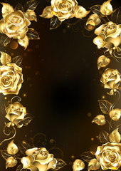 Frame with gold roses