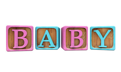 Baby Blocks, Blue and Pink, Isolated on White. 3D Illustration