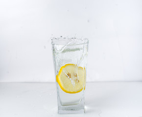 a glass with a lemon