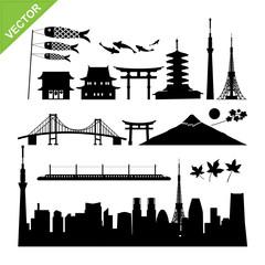 Tokyo, Japan landmark silhouettes vector