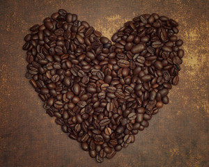 Coffee heart from dark roasted coffee beans