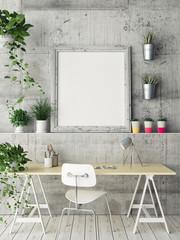 Mock up poster, office space, 3d illustration