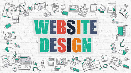 Website Design Concept with Doodle Design Icons.