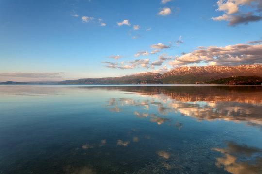 Lake Ohrid scenery at sunset, Pogradec, Albania