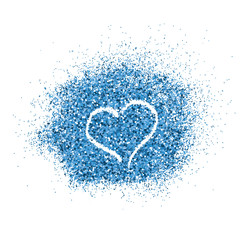Paint glitter splash with heart on white background.