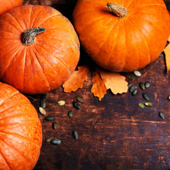 Autumn Pumpkin Thanksgiving Background - orange pumpkins over wo