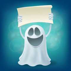 Laughing cartoon ghost with banner