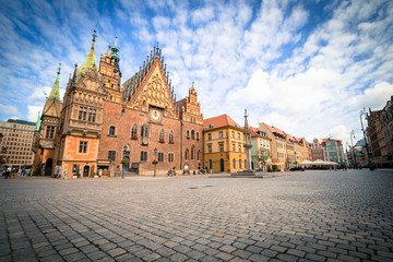 View of the historical marketplace in Wroclaw / Poland.