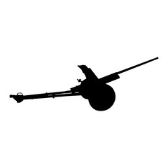 Artillery gun silhouette. Howitzer icon. Vector illustration
