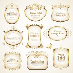 White gold-framed labels