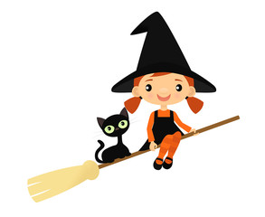 Cute little witch and black cat on a broom