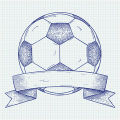 Soccer ball with banner. Hand drawn sketch