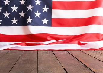 American flag wooden background.The Flag Of The United States Of America. The place to advertise, template.