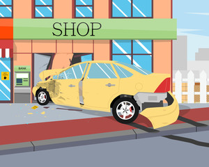 The driver felt bad and he lost control crashed into a house. Vector illustration