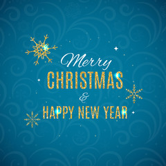 Merry Christmas and New Year Gold Glossy Background. Vector Illu