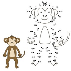 Connect the dots to draw the cute monkey and color it