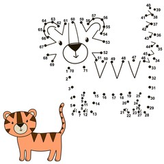 Connect the dots to draw a cute tiger and color it