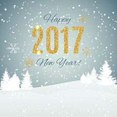 Happy New Year 2017 Gold Glossy Background. Vector Illustration