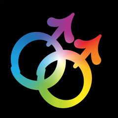 Gay love icon - rainbow gradient colored symbol, pleasant rounded typeface on black background.