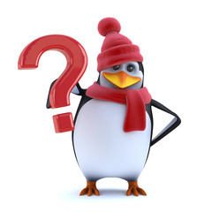 3d Christmas penguin has a question for you