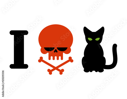 I Hate Cats Skull Symbol Of Hatred And Pets Logo For Allergy S