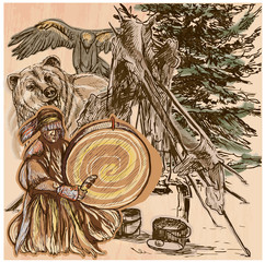 Shaman, bear and eagle. An hand drawn vector picture. Line art i
