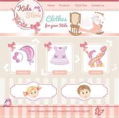 baby template for market web site with clothes illustrations