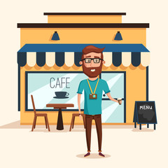 Hipster man with beard and photo camera near cafe with menu and table, chairs and lamps. Tourist traveling and visiting shop to take a cup of coffee. Can be used for landmark and urban landscape theme