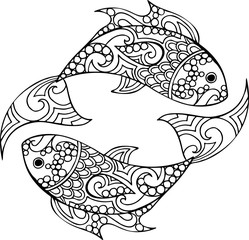 Hand drawn vector doodle pisces illustration