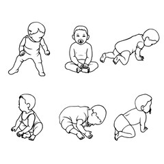 Vector illustration set of doodle children