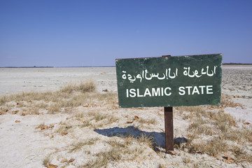 Islamic state signboard in desert