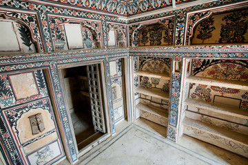 Interior of the old rooms of historical mansion, Jaisalmer of India