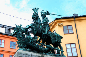 Stockholm. Old sculpture representing a symbol of the city - st. George icon