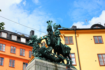 Statue of Sankt Goran & the Dragon in Stockholm, Sweden - a bronze