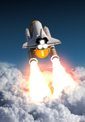 Fotobehang - Space Shuttle Takes Off Above The Clouds