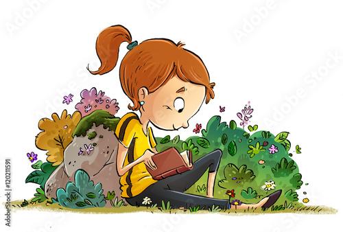 """""""niña Leyendo Un Libro En La Naturaleza"""" Stock Photo And"""