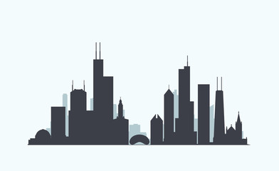 Chicago skyline silhouette Wall mural