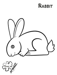 Children's coloring book that says Paint me. Rabbit
